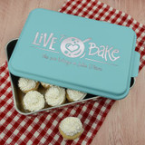 Live, Love, Bake Personalized Cake pan has her name on it.