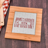 Give her a unique gift with this personalized trivet that features her name