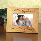Personalized frame for family has family last name and members' first names engraved