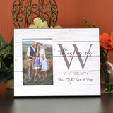 "Personalized Family Frame holds a 4""x6"" picture and is personalized with family last name and member first names."