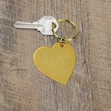 "Personalized brass heart keychain engraved with ""Best Mom Ever"" with a short message"