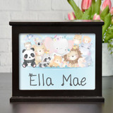 Personalized light box has cute  animals and features child's name