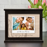 Personalized light box has your favorite image with a caption and a short message underneath.