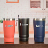 Personalized Travel Mug comes in three colors and is personalized with name.