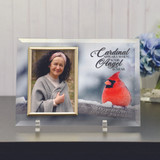 Cardinal Glass Frame Personalized with Name and Dates