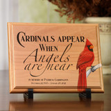 Personalized memorial plaque with cardinal