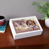 Personalized white memorial keepsake box with sister's picture
