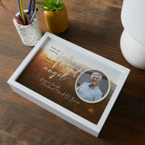 Personalized white memorial keepsake box with dad's picture