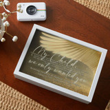Personalized memorial keepsake box for the loss of a child has name and dates on the top