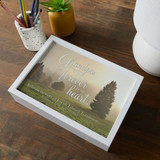 Personalized memorial keepsake box for the loss of a  grandfather has name and dates on the top