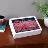 Personalized memorial keepsake box for the loss of a  grandmother has name and dates on the top