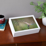 Personalized memorial box has full color dragonfly graphic, sister's name and dates on the top.