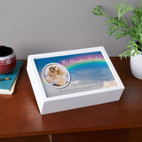 Memorial keepsake box with rainbow bridge poem, picture of pet and their name