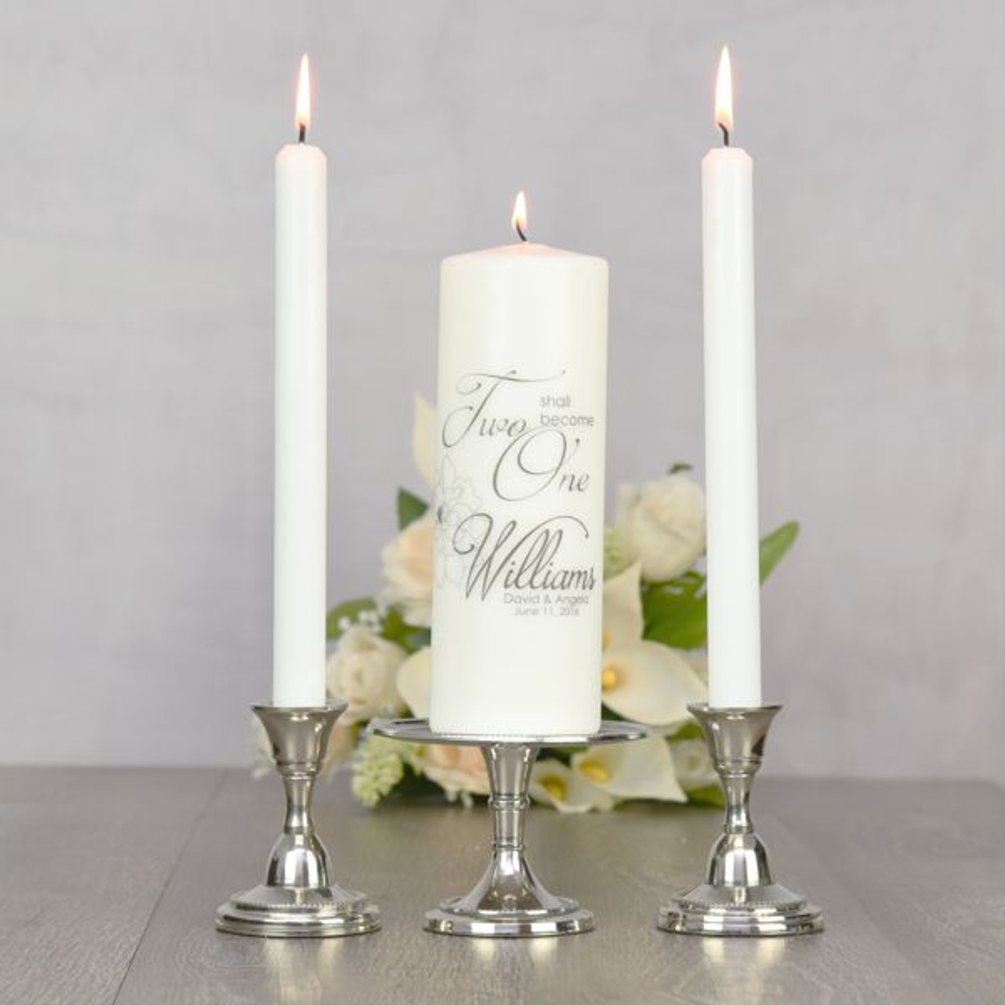 Two Become One Personalized Unity Candle | Unity Candle ...