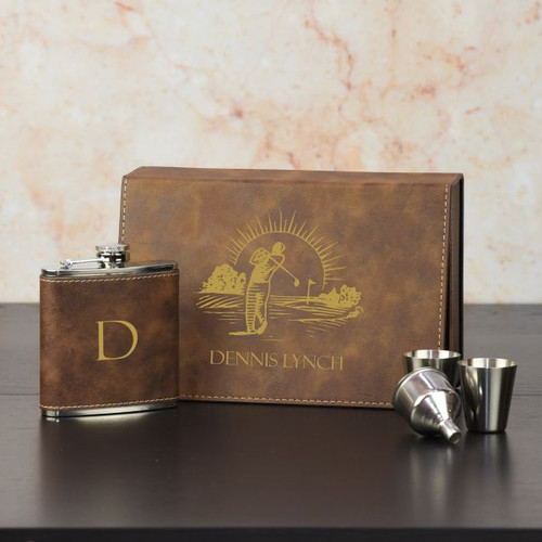 Golfers Personalized Flask Set
