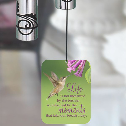 Wind sail is printed with a hummingbird and saying