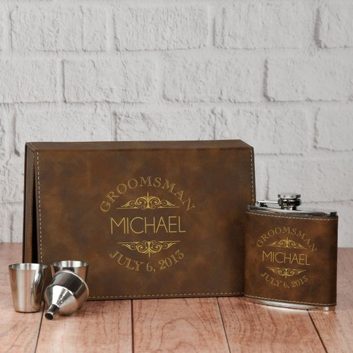 Groomsman Scroll Flask Set