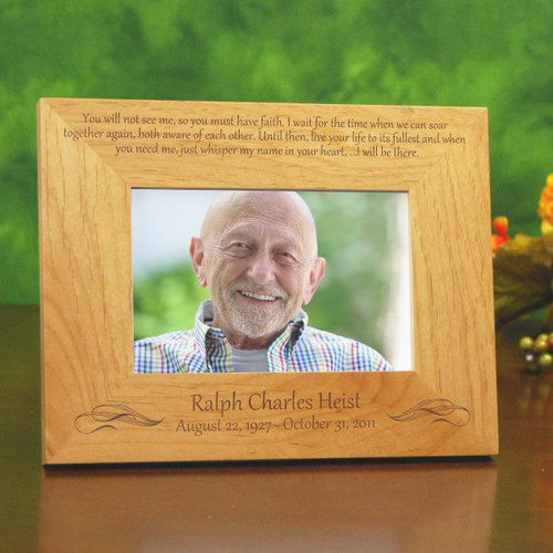 Together again engraved wooden memorial picture frame