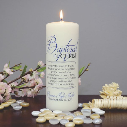 Baptized In Christ Personalized Candle