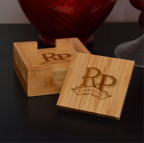 My Pub Bamboo Coaster Set