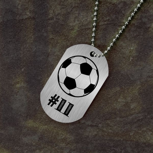 Jersey Number Soccer Dog Tag