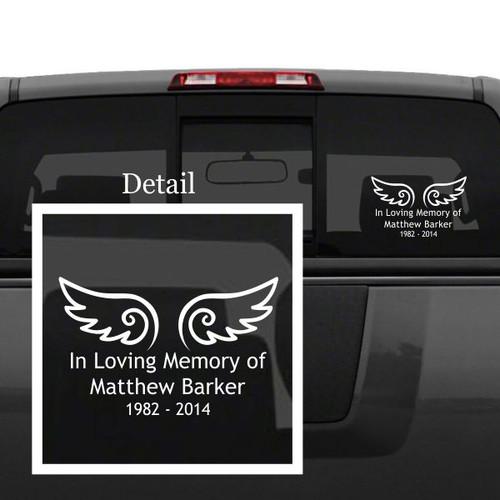 Angel Wings Memorial Car Decal