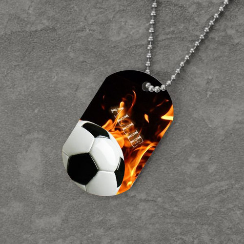 Feel the Fire Soccer Dog Tag
