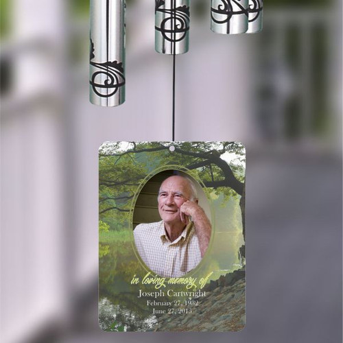 Wind chime sail is personalized with a photo, name and date