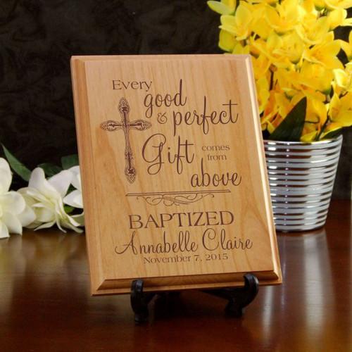Perfect Gift Baptism Alder Plaque