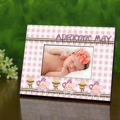 Baby Girl Gingham Pattern Personalized Frame