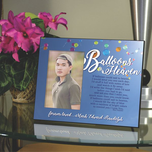 Memory picture frame features balloons to heaven poem