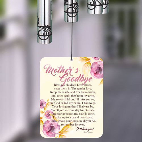 Wind chime sail is printed with A Mother's Goodbye poem