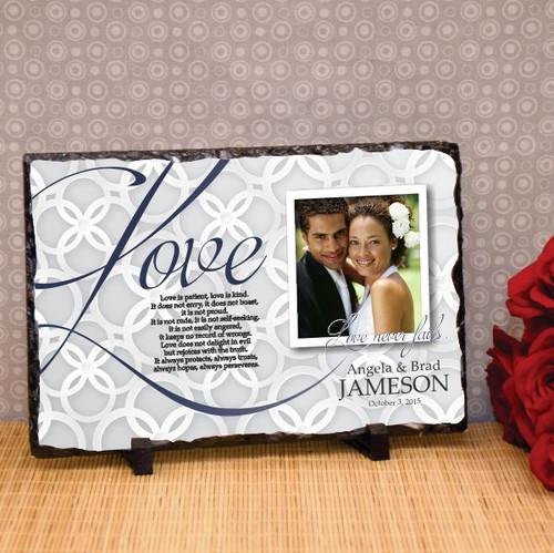 Love Never Fails Wedding Plaque
