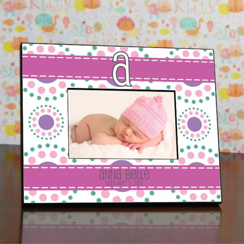 Baby Girl Modern Monogram Personalized Frame