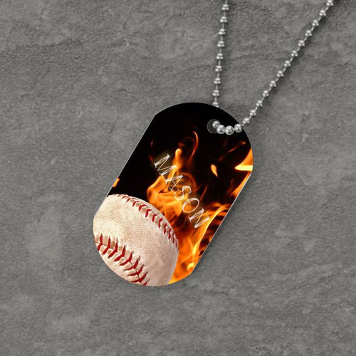 Feel the Fire Baseball Dog Tag
