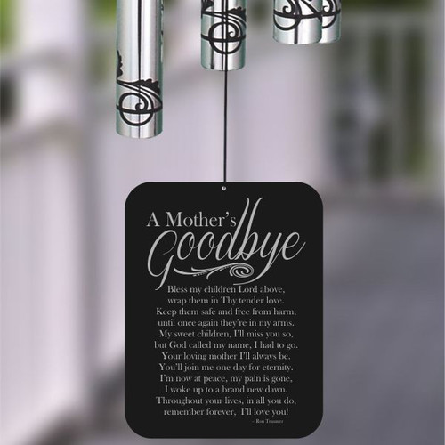 Wind chime is engraved with A Mother's Goodbye poem