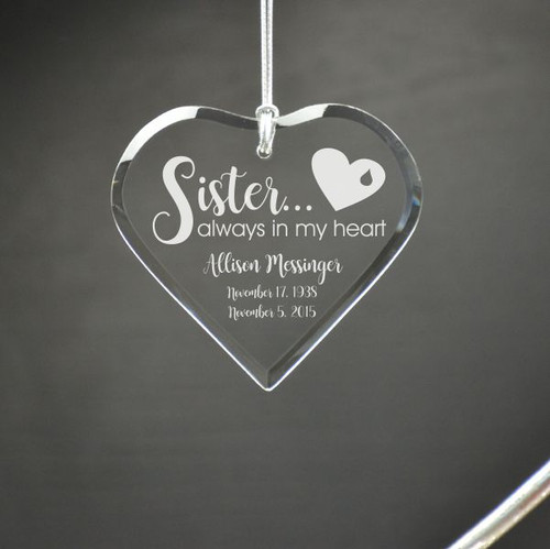 My Sister in My Heart Personalize Memory Ornament