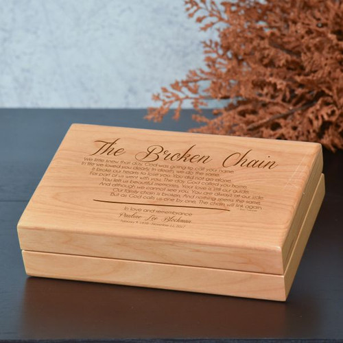 Keapsake box engraved with the broken chain poem and personalized