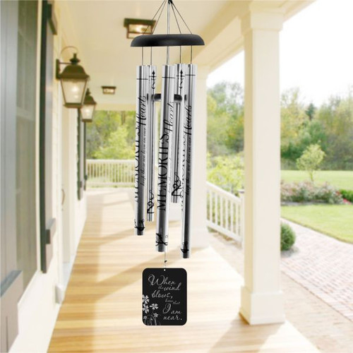 Personalized Memorial Wind Chime I Am Near Flower Design