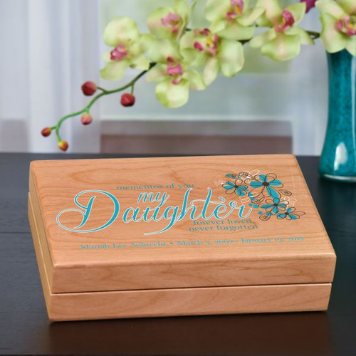 Daughter memory box is personalized with name and date