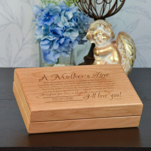 Memory box engraved with mothers love poem