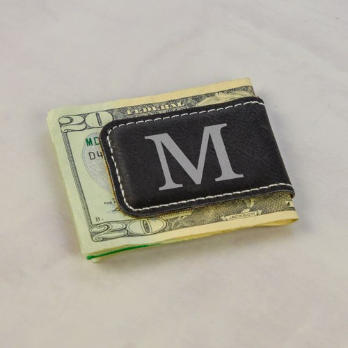 Engraved Initial Money Clip shown in Black