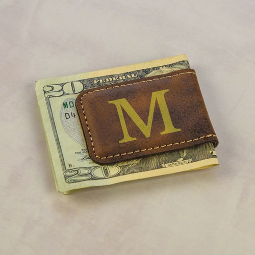 Engraved Initial Money Clip shown in Brown