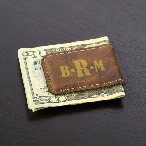 Personalized Monogram Money Clip Shown in Brown