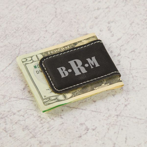 Personalized Monogram Money Clip Shown in Black