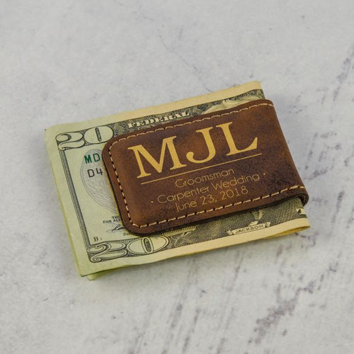 Monogram Groomsmen Money Clip in Brown