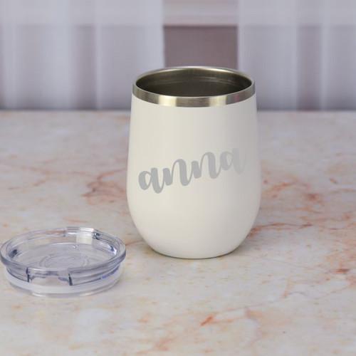 White Personalized Wine Tumbler