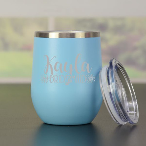 Personalized Bridesmaid Wine Tumbler -Blue