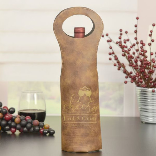 Personalized Wine Bag Shown in Brown