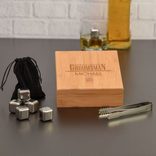 Groomsman Whiskey Stones Engraved Gift Set